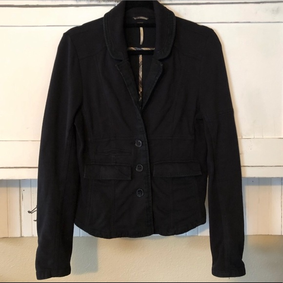 Free People Black Knit Stretch Jacket Blazer